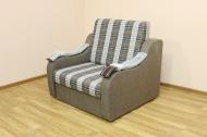 Адель, кресло-кровать в ткани шотландия кофе и однотон накладки без полос
