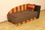 Денди, диван в ткани пуфи оранж полоса и однотон - 1