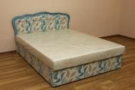 Ева 1,4, кровать в ткани копс голубой и жаккард