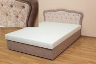 Ева 140, кровать в ткани паула роуз и алюр мокко