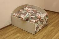 Кубик диван в ткани делиция браун и однотон
