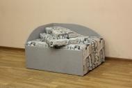 Кубик, диван в ткани экшен 02 и однотон