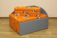 Кубик, диван в ткани микки оранж и сильвер грей