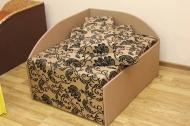 Кубик, диван в ткани нео флок голд браун и нео голд браун