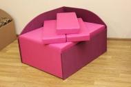 Кубик, диван в ткани пленет пинк 18 и пленет 19 виолет