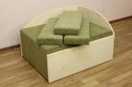 Кубик, диван в ткани шенил желтый и зеленый