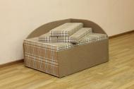 Кубик, диван в ткани шотландия браун и однотон