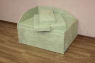 Кубик, диван в ткани замша салатовый цветок и квадрат -1