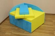 Кубик в ткани румба лимон и пинепл блу