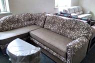 Лагуна, диван в ткани ажур беж браун и однотон