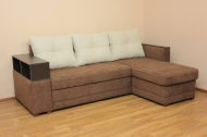 Лира, угловой диван в ткани мисти милк и мисти браун