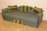 Любава, диван в ткани пуффи зеленая полоса и шенил 2067 - 1