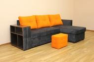 Ника, диван в ткани микки комби оранж и софтинес кавиар ( без пуфика)