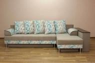 Симфония, угловой диван в ткани копс голубой и тифани какао