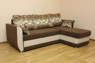 Татьяна, угловой диван в ткани копс браун и однотон