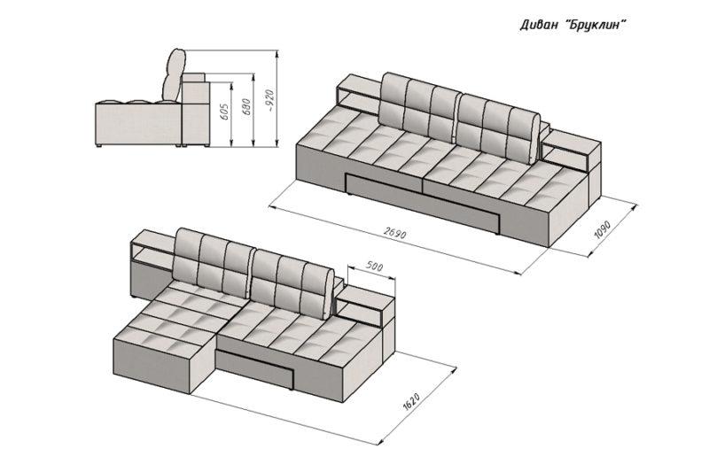Бруклин, прямой диван , размеры